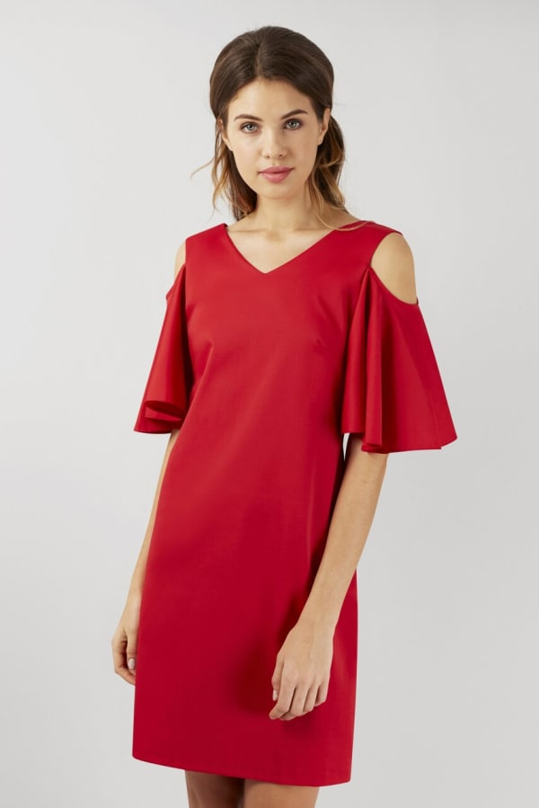 Red Open Shoulder V-Neck Sheath Tunic Dress