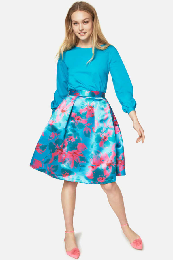 Turquoise Floral Pleated Skirt