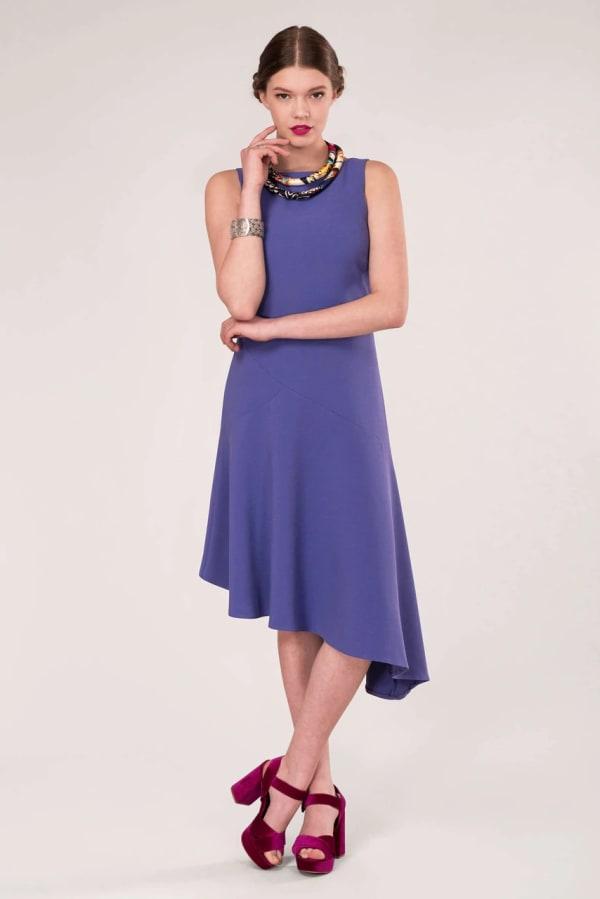 Lilac Panelled Asymmetric Dress