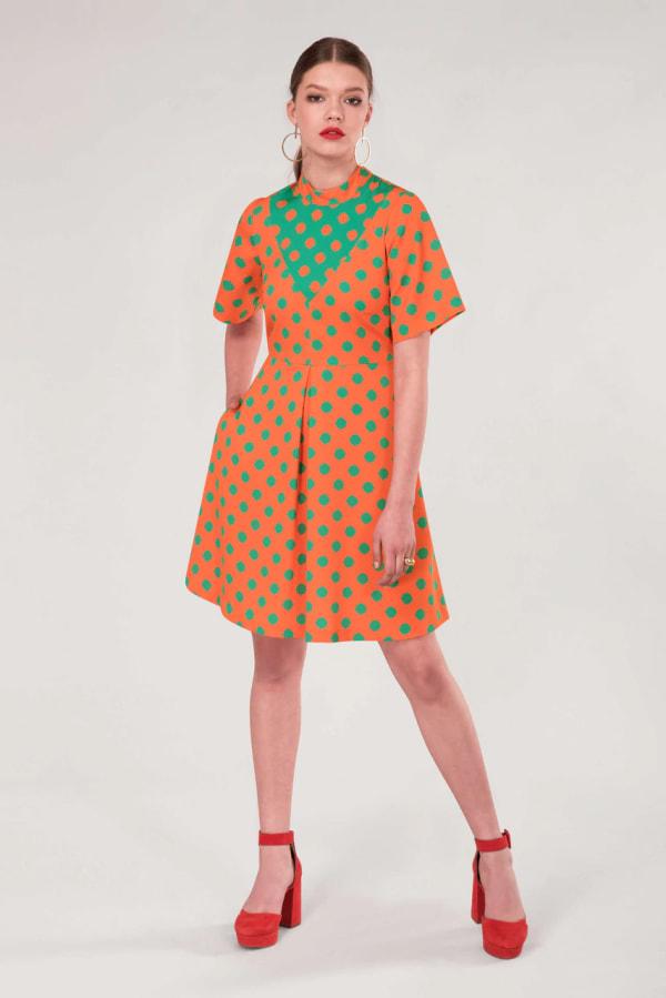 Orange Polka Dot V-Neck Collared Dress