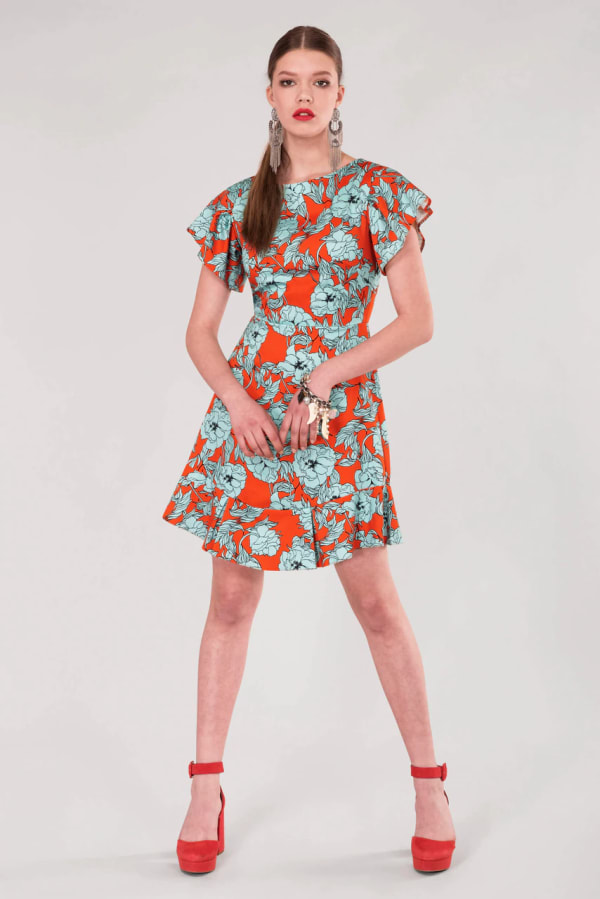 Orange Floral Frill Sleeve & Hem Dress