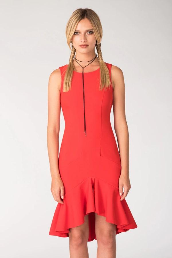 Red Frilled Skirt Panel Dress