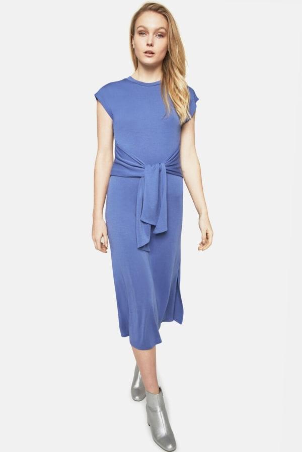 Tie Front Sweatshirt Midi Dress