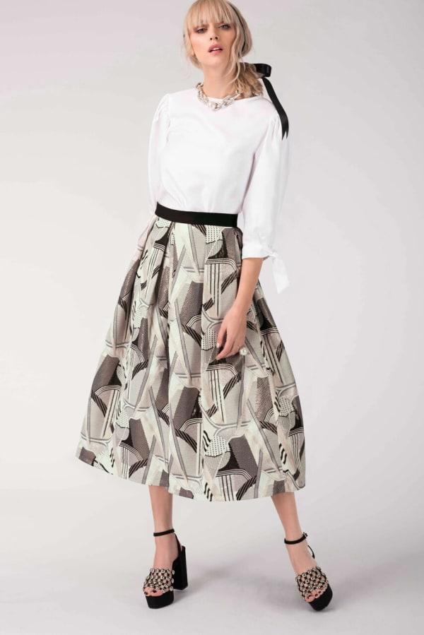 CLOSET GOLD Metallic Jacquard Pleated Midi Skirt