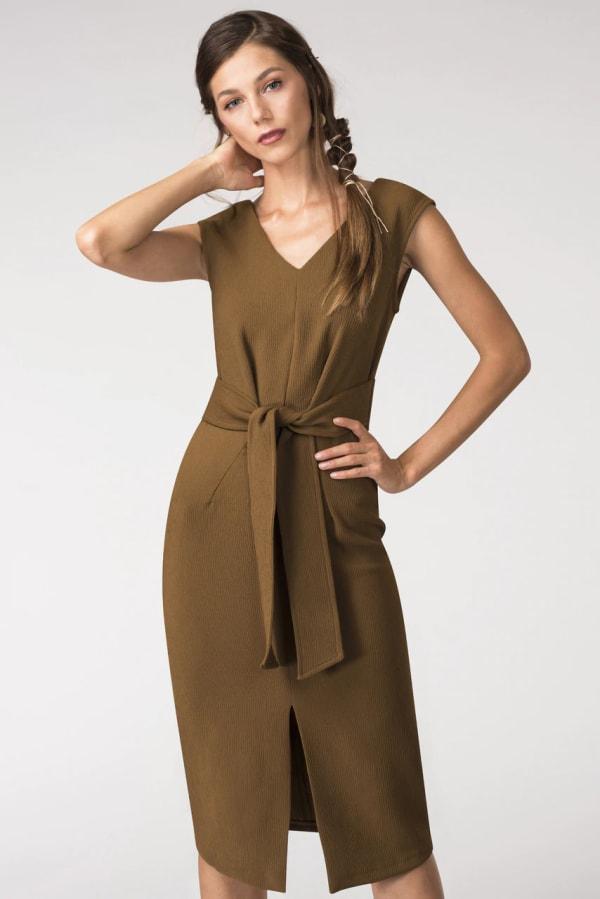Rust Closet Tie Front Dress