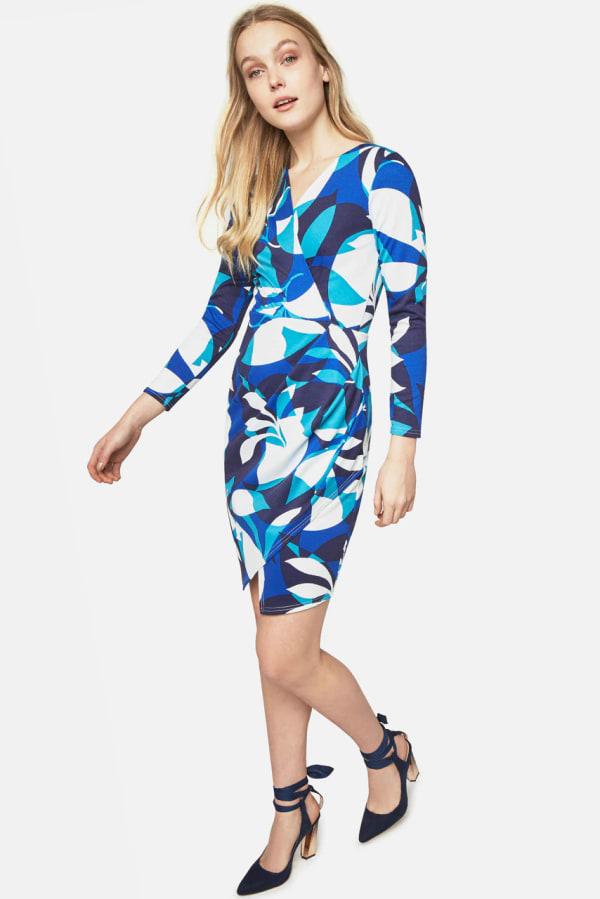 Closet Printed Long Sleeve Wrap Jersey Dress