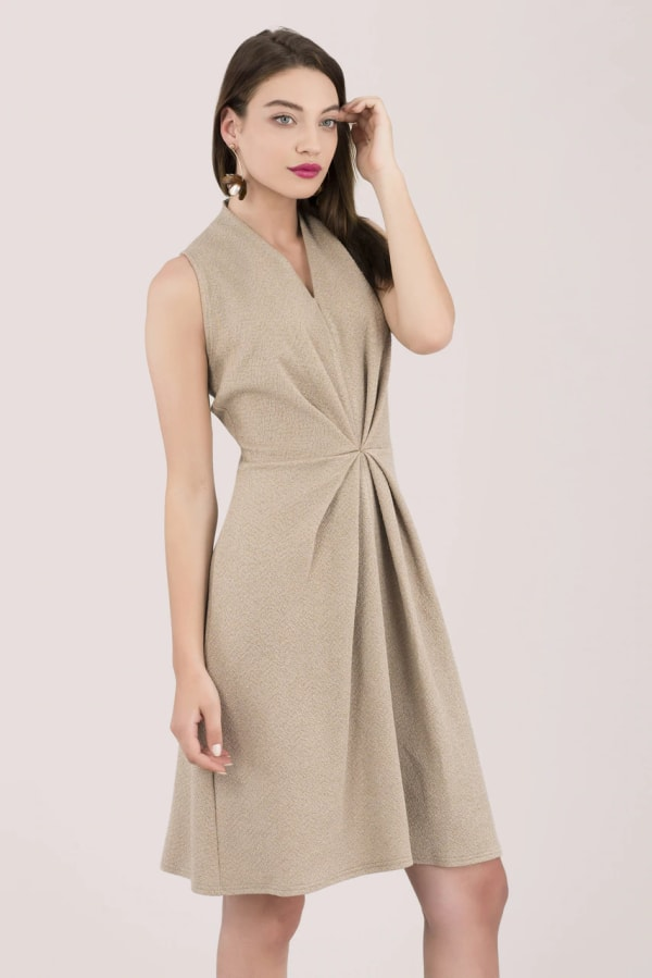 Beige Centre Pleated A-Line Dress