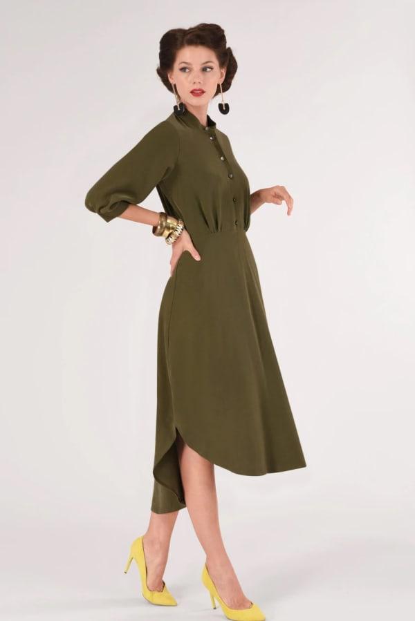 Olive Bishop Sleeve Shirt Dress