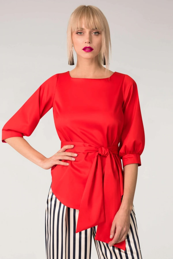 Red Puff Sleeve & Tie Blouse Puff Sleeve Top