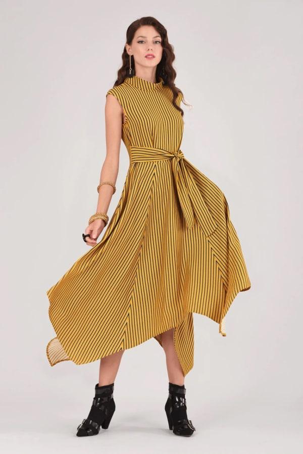 Mustard Handkerchief Point Hem Dress