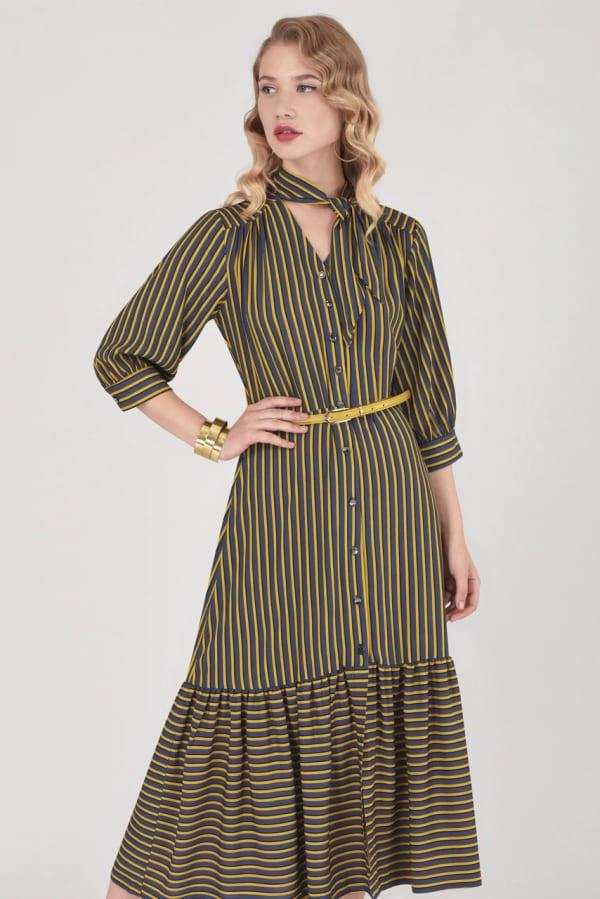 Mustard Stripy Midi Dress With Neck Tie
