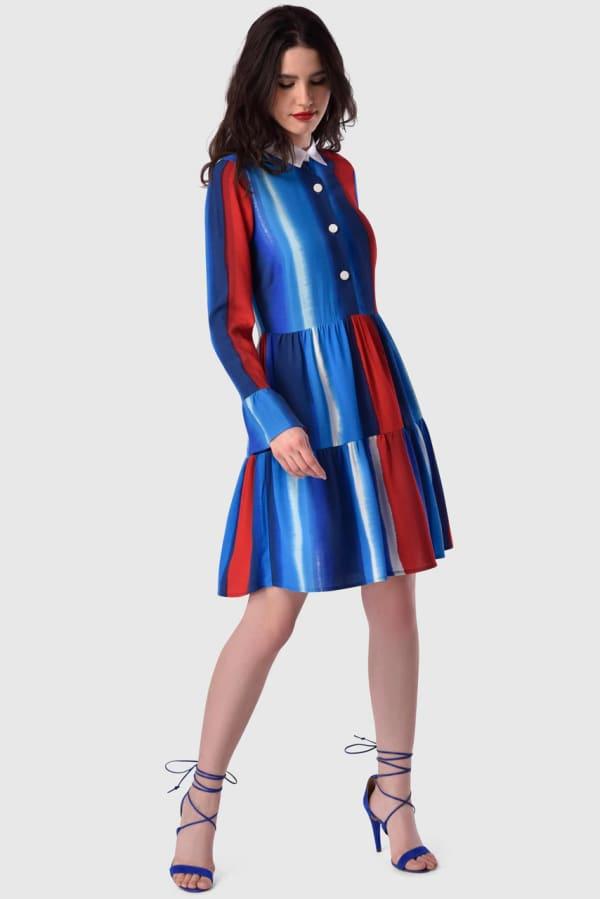 Multi Gathered Skirt and Collar Dress
