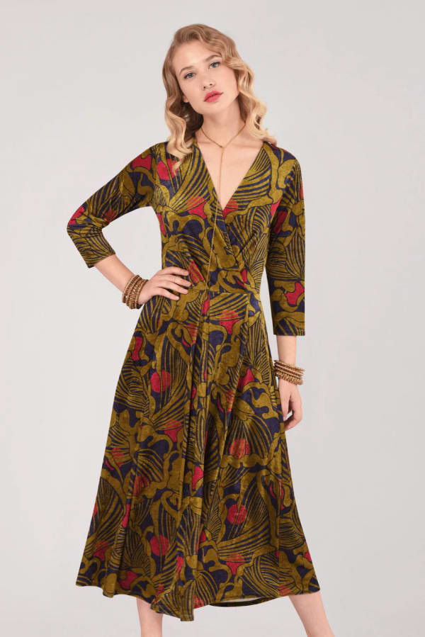 Olive Wrap Long Sleeve Dress