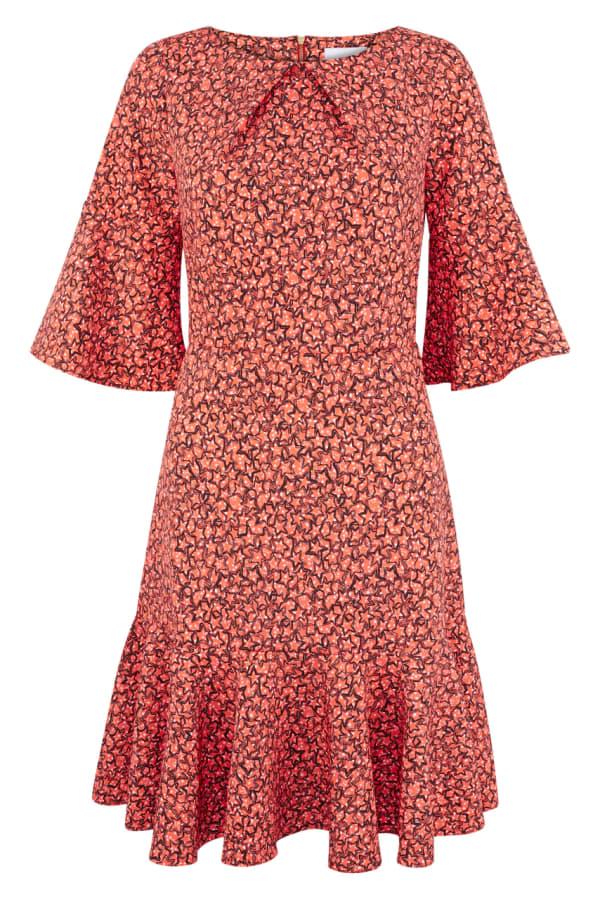 Orange Star Flute Sleeve A - Line Dress