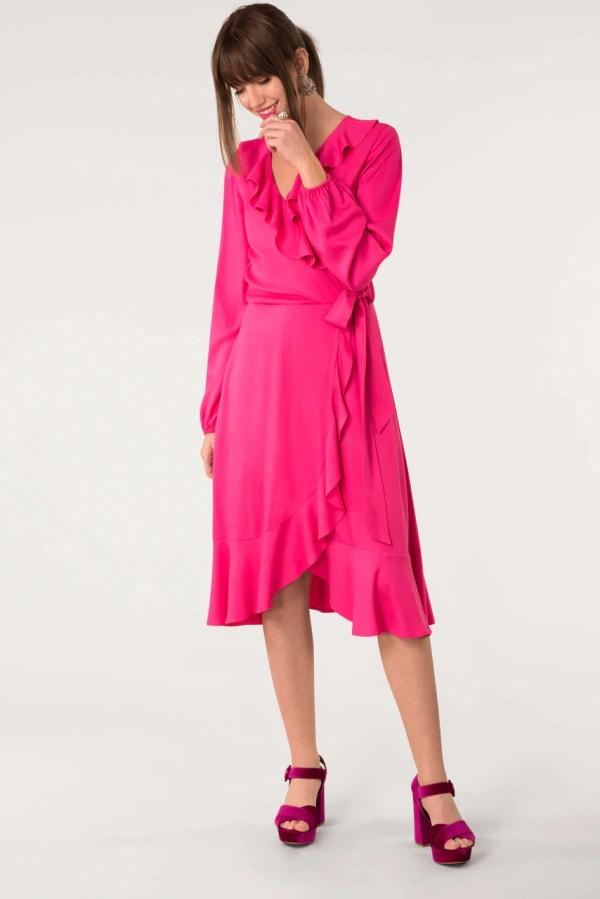 Pink Long Sleeve V-Neck Frill Wrap Dress