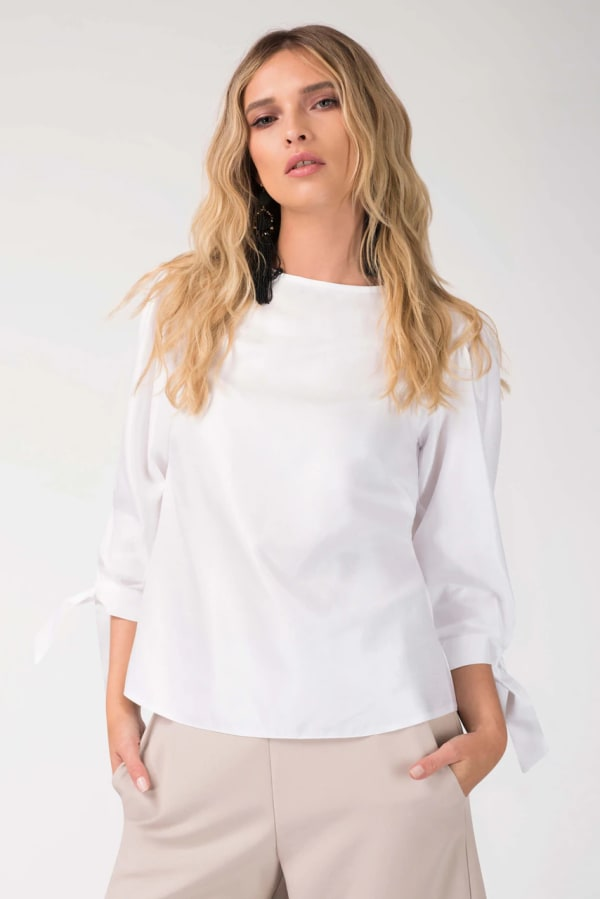 White Gathered Sleeve Tie Cuff Top