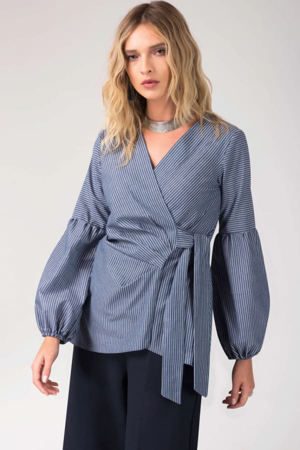 Navy Puff Sleeve Pleated Wrap Blouse