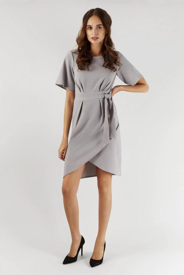 Gray Kimono Wrap Dress