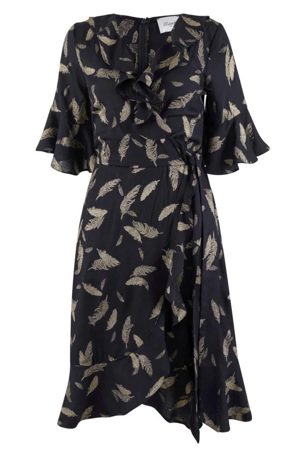 Navy Feather Print Wrap Dress
