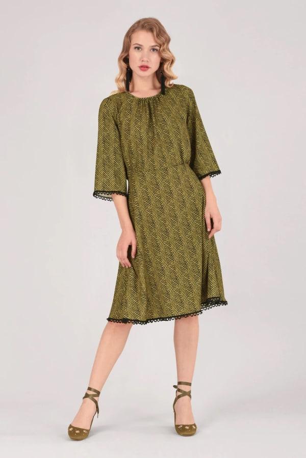 Mustard Zig-Zag Gathered Neck A-Line Dress