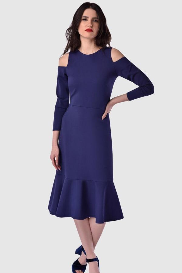 Blue Cold Shoulder Jersey Pep Hem Dress