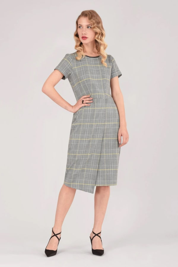 Dogtooth Check Asymmetric Wrap Skirt Dress