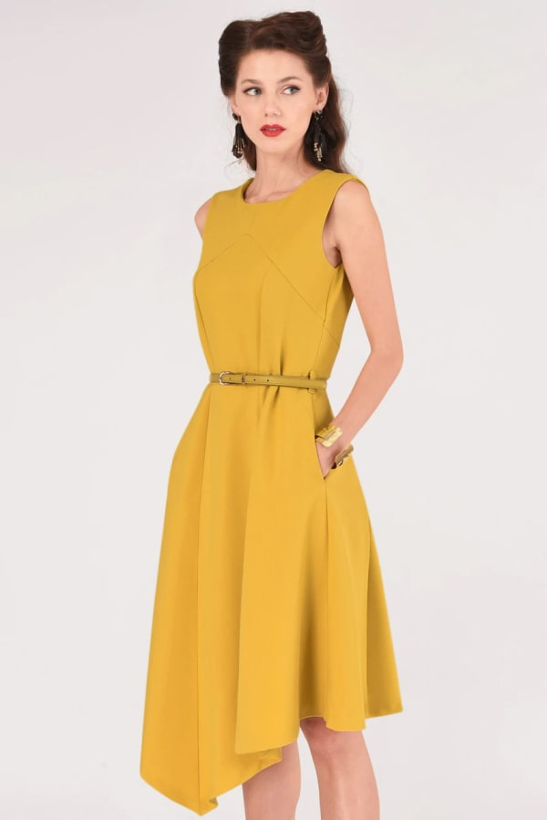 Mustard Asymmetric Hem Dress