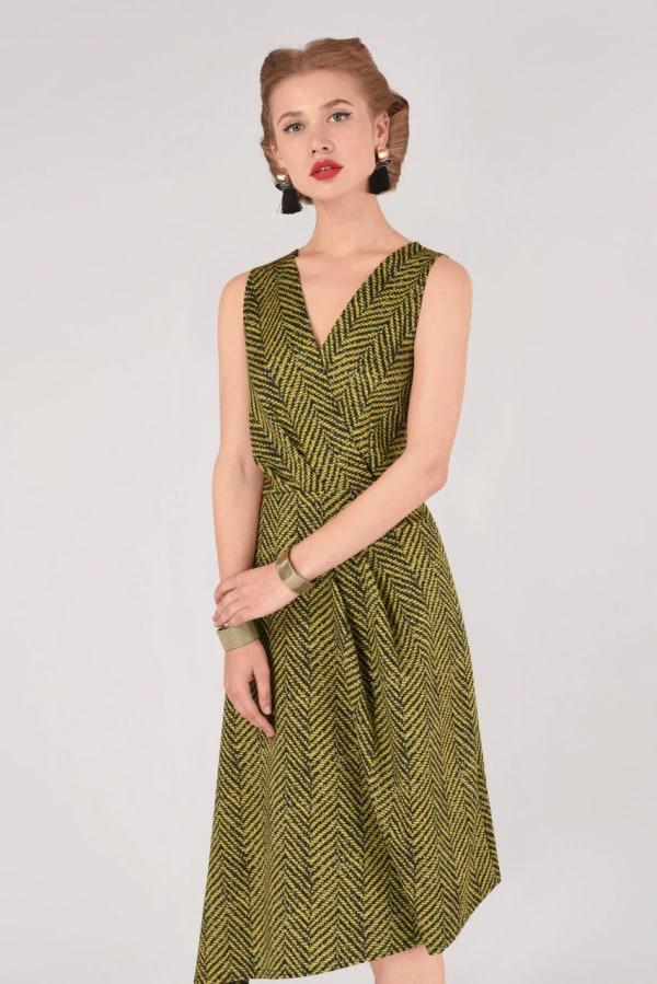 Lime Stripe Asymmetrical Wrap Dress