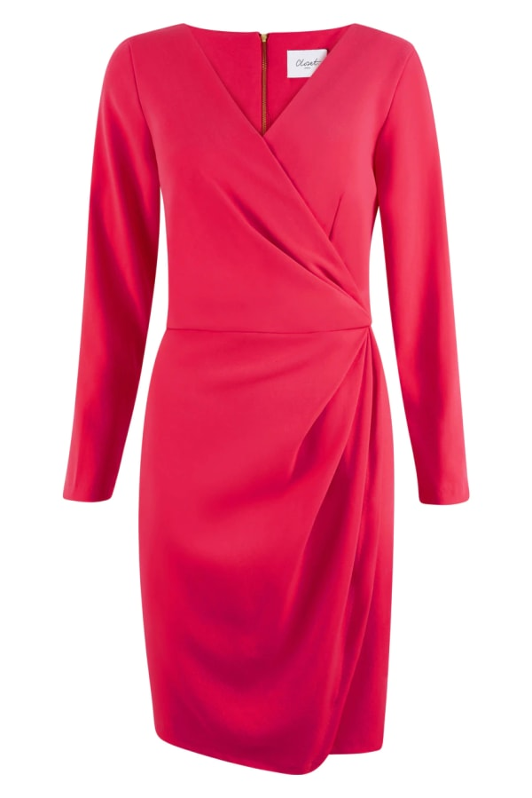 Pink Pleated V-Neck Pencil Wrap Dress
