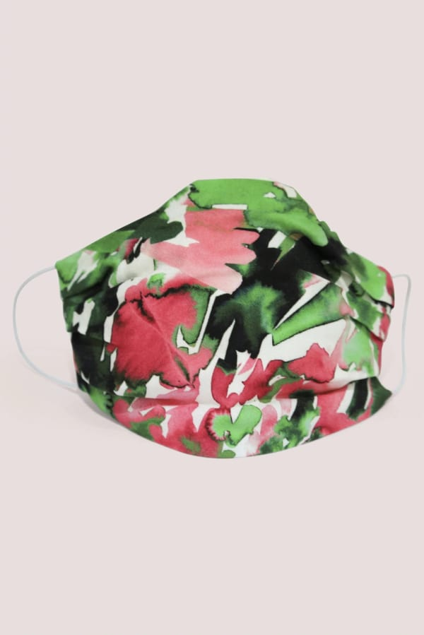 Green And Pink Double Layer Fabric Face Mask