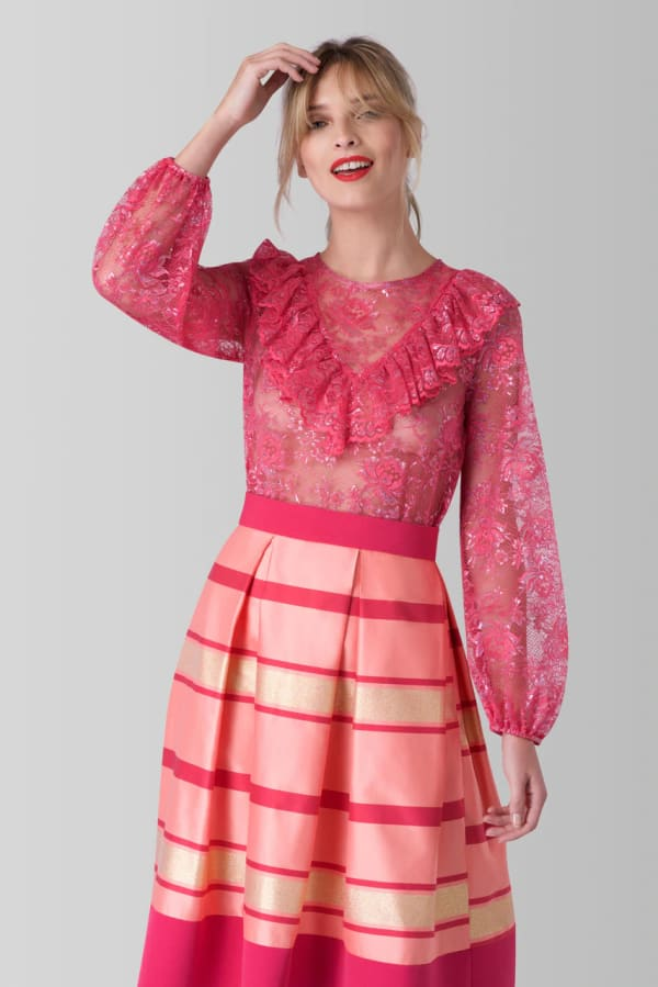 Pink Lace Long Sleeve High Collar Blouse