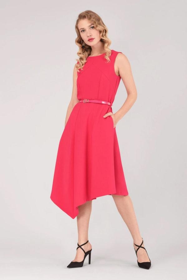 Pink Asymmetric Hem Dress