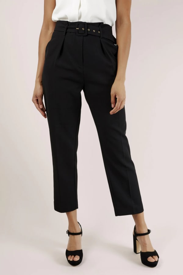 Black Paper Bag Trousers With Belt