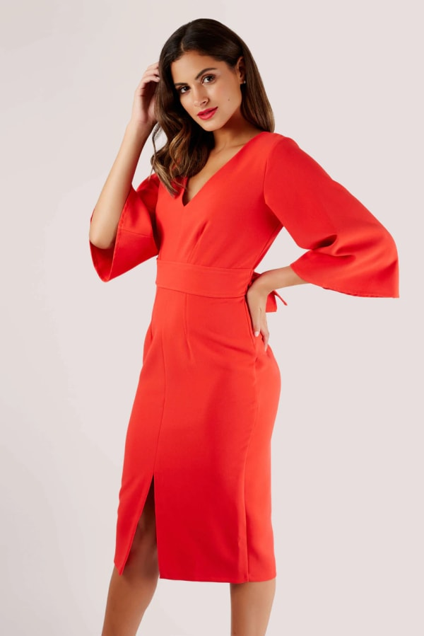 Red V-Neck Flared Sleeve Pencil Dress