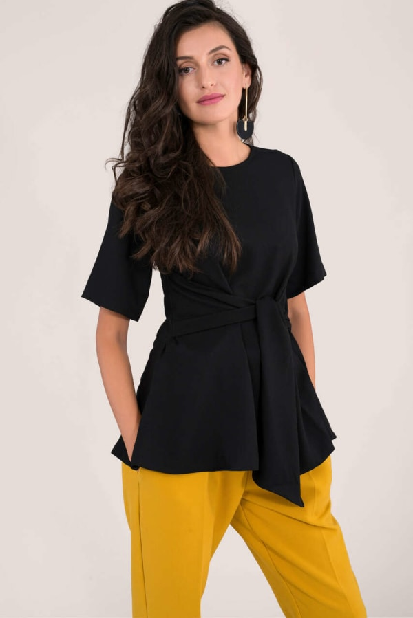 Black Short Sleeve Top With Tie Waist