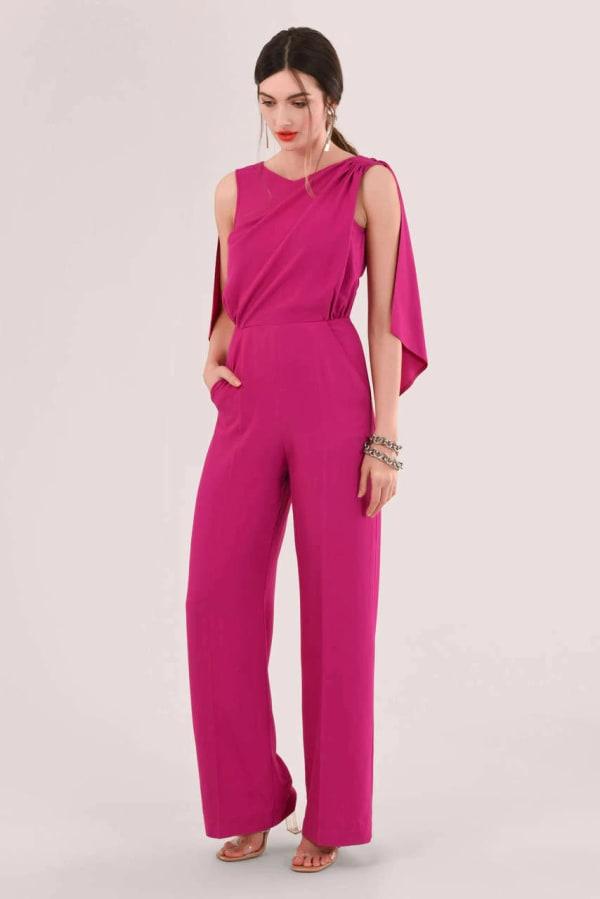 Pink Gathered Shoulder Jumpsuit
