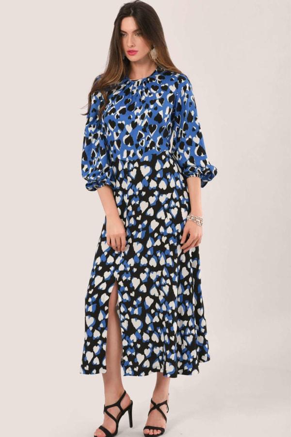 Blue Heart Print Puff Sleeve Midi Dress