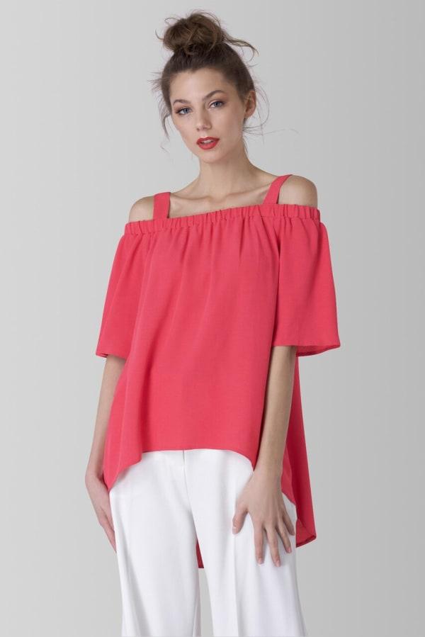 Pink Off The Shoulder Strap Blouse