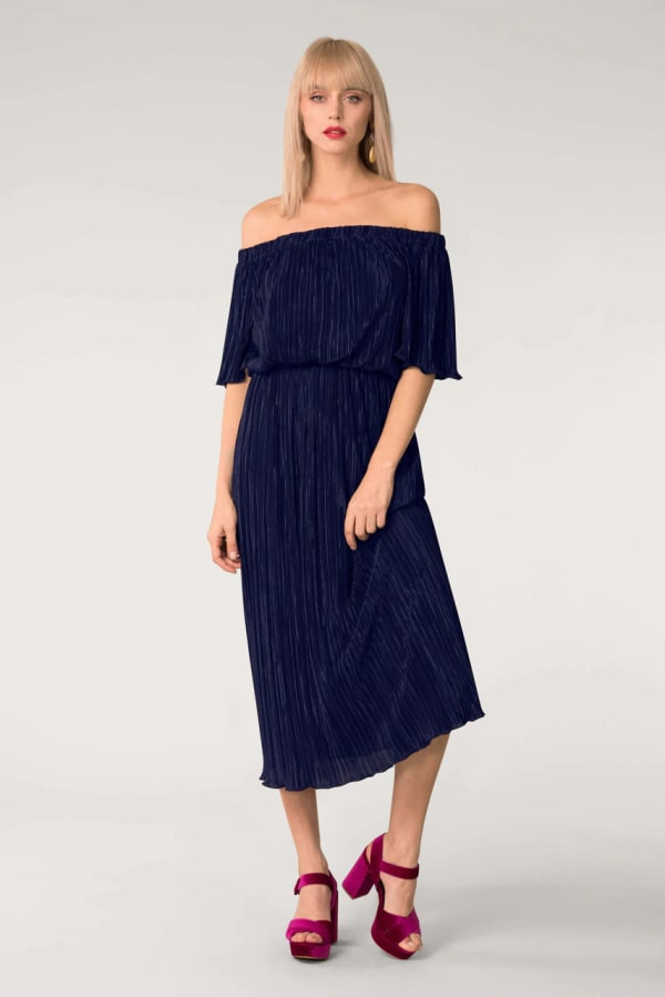 Navy Off the Shoulder Gathered  Midi Dress