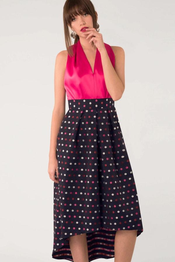 CLOSET GOLD Halter Neck Polka Dot 2-in-1 Dress