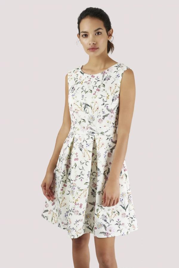 Ivory Floral V-back Pleated Dress