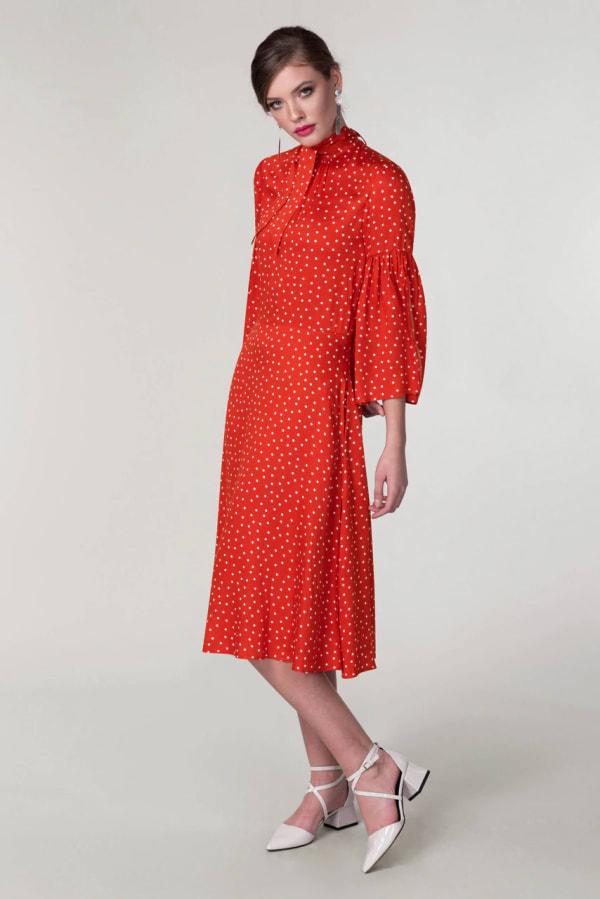 Red Polka Dot Split Sleeve Midi Dress