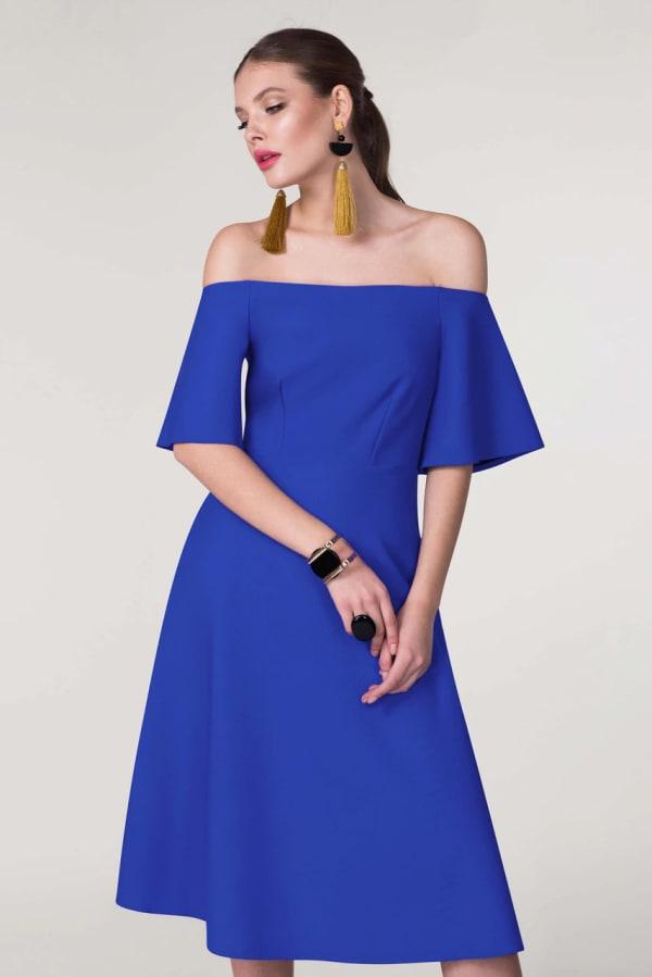 Blue Off The Shoulder A-Line Dress