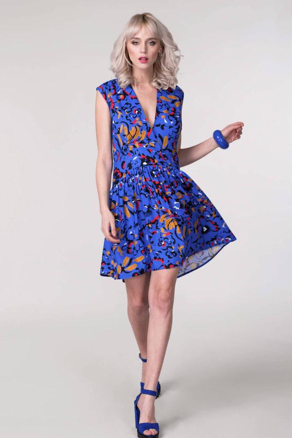 Blue Drop Waist Wrap Dress