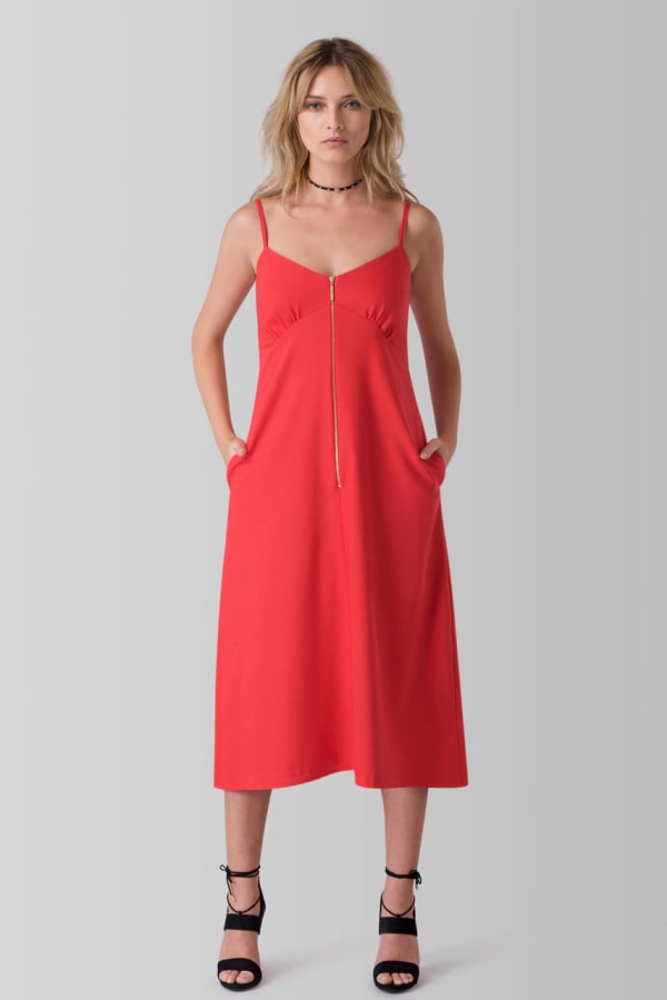 Red Zip Front Strap Sleeve Cami Dress