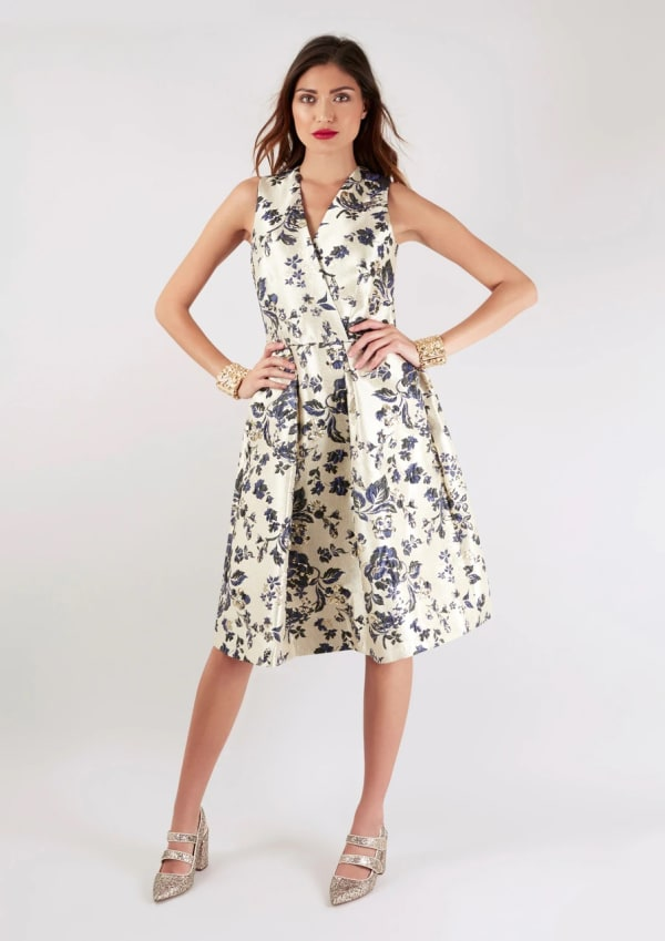 Navy Floral Printed Pleated Wrap Dress