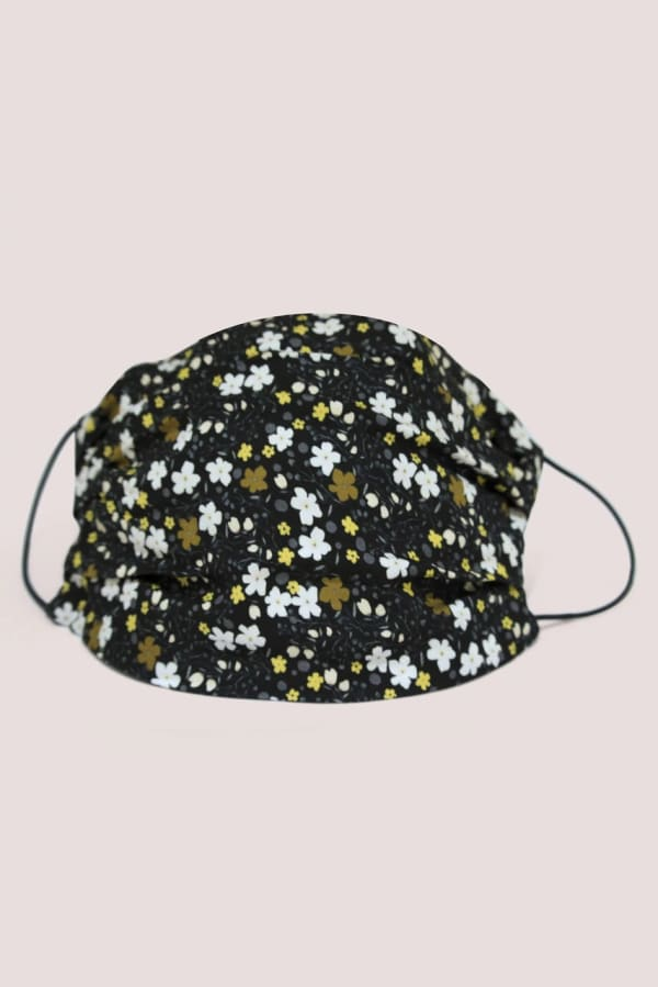 Black Floral Double Layer Fabric Face Mask