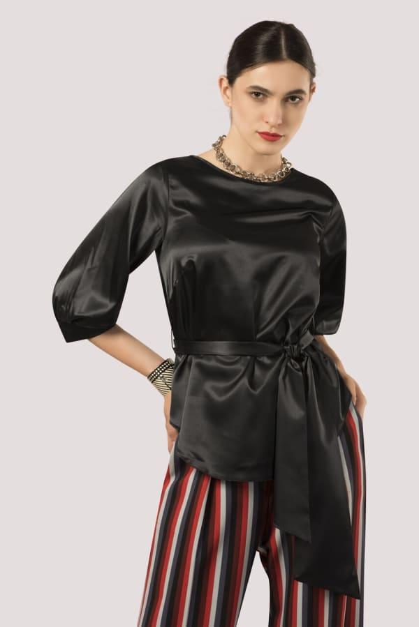 Black Puff Sleeve & Tie Blouse