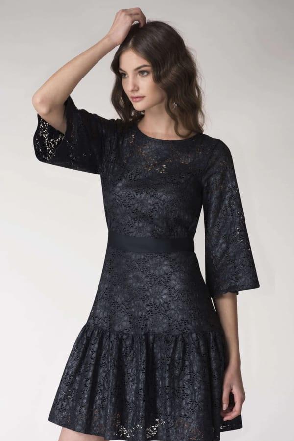 Navy Metallic Lace Frill Hem Dress