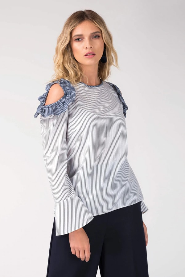 White Open Shoulder Frill Top